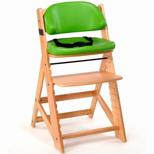 Keekaroo Height Right Kids Chair Natural with Lime Comfort Cushions