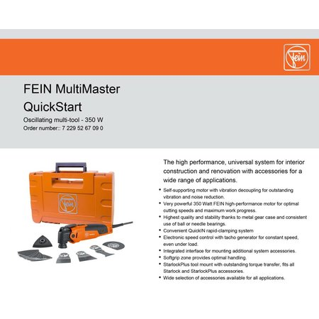NEW FEIN 72295267090 MULTIMASTER OSCILLATING TOOL KIT w// HARD CASE /& 9 PCS
