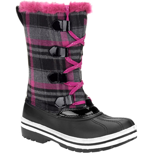 Girls' Fern Tall Plaid Lace-Up Winter Snow Boots