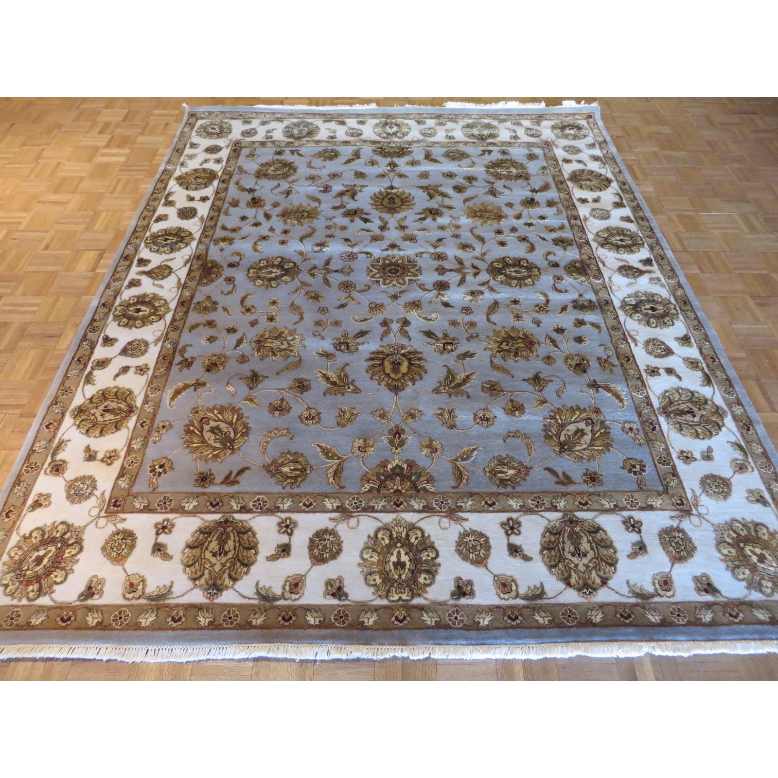 Oriental Rug Galaxy Oriental Light Blue Wool And Silk Tabriz Hand
