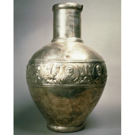 France Paris Musee Du Louvre Silver vase from Syria 6th century Stretched Canvas -  (24 x 36)
