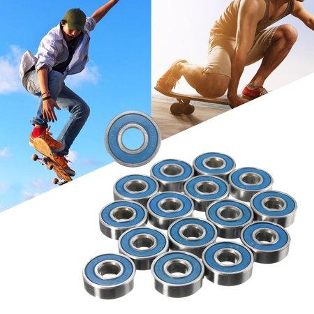 16Pcs Frictionless ABEC 9 Skateboard Longboard Bearings Roller Skate Wheels Scooter Spare, Wheels Size: 22mm