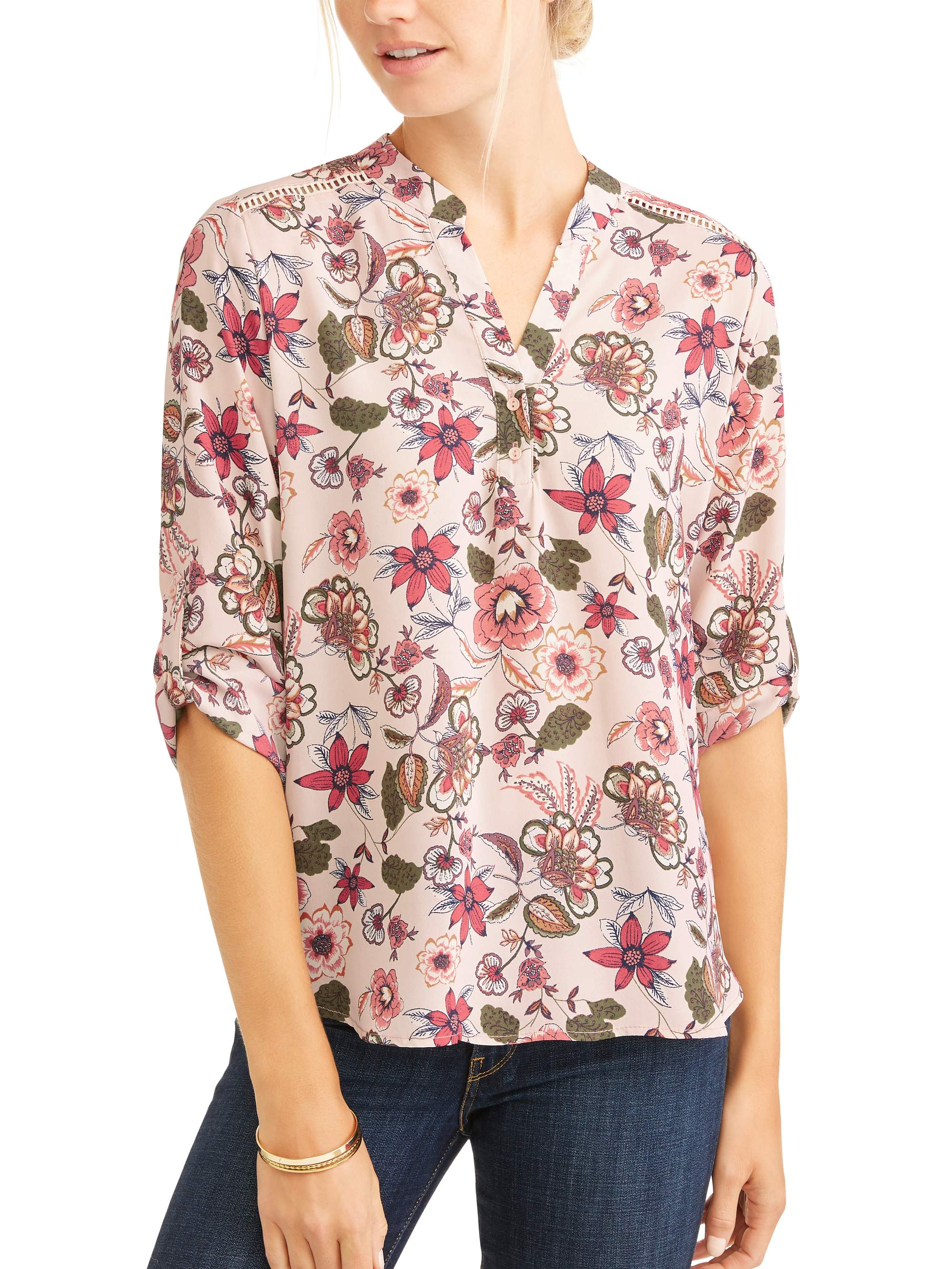 Cure Women's Floral Ladder Stitch Trim Popover Shirt by CURE APPAREL