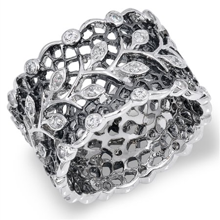White CZ Victorian Style Filigree Vine Leaf Ring ( Sizes 6 7 8 9 10 ) Sterling Silver Band Rings (Size 10)
