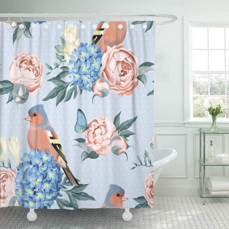 PKNMT Blue Beauty Birds and Flowers Blossom Butterfly Dot Feather Finch Floral Freesia Waterproof Bathroom Shower Curtains Set 66x72 inch - Dot Flowers