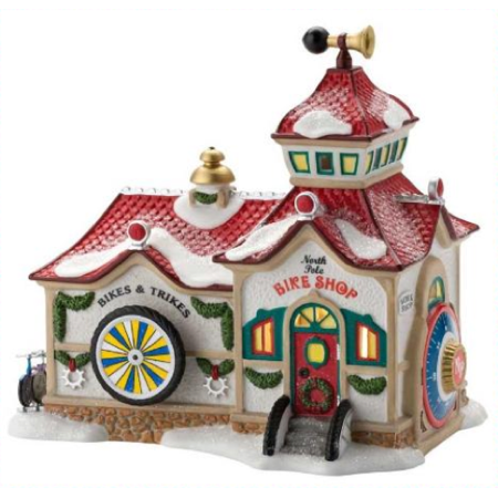 Department 56 North Pole Bike Shop Animated Lighted Retired