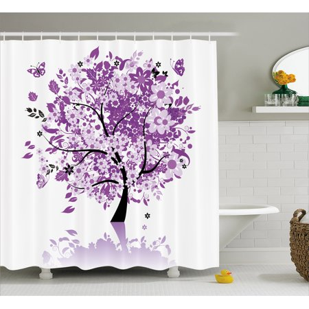 Nature Shower Curtain, Spring Tree of Life Sacred Woods with Blooming Flower and Butterfly Flying Romance, Fabric Bathroom Set with Hooks, 69W X 70L Inches, Lilac Purple, by Ambesonne](Butterfly Bathroom)