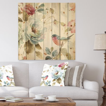 Multi Color Natural Wood - DESIGN ART Designart 'Beautiful Bird Romance I' Traditional Print on Natural Pine Wood - Multi-color