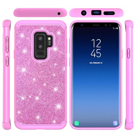 Galaxy S9+ Plus Case Glitter, Allytech Dual Layer Silicone PC Bumper Armor Bling Heavy Duty Protective Shockproof Impact Resistant Girls Cover for Samsung Galaxy S9 Plus, Pink - Girl In Armor