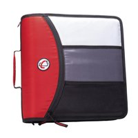 Case it mighty zip tab, 3 inch o-ring zipper binder w/tab file, red