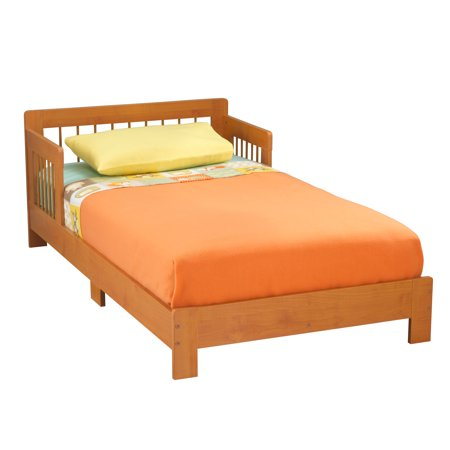 KidKraft Houston Wooden Toddler Bed with Side Rails and Spindle Headboard - Honey