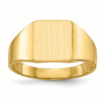 14K Yellow Gold 4 MM Square Engravable Signet Ring, Size 6
