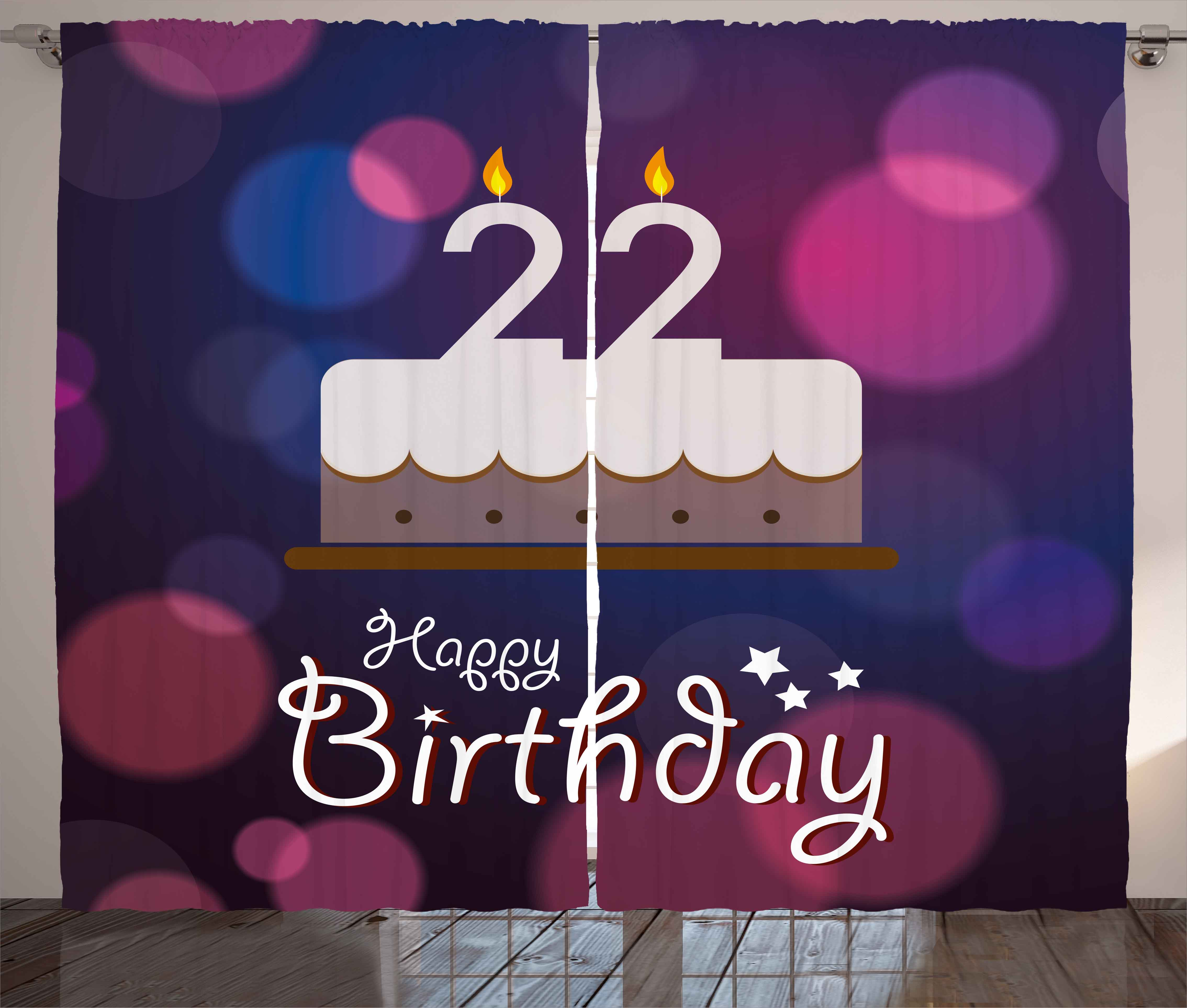 22nd Birthday Decorations Curtains 2 Panels Set Vibrant Greeting