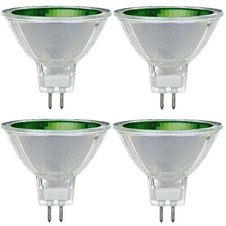 Pack Of 4 MR16/50/NSP/12V/G 50 Watt Halogen MR16 GU5.3 Based Mini Reflector Green Colored Light - Water Cooled Lights
