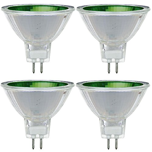 Pack Of 4 MR16/50/NSP/12V/G 50 Watt Halogen MR16 GU5.3 Based Mini Reflector Green Colored Light Bulb