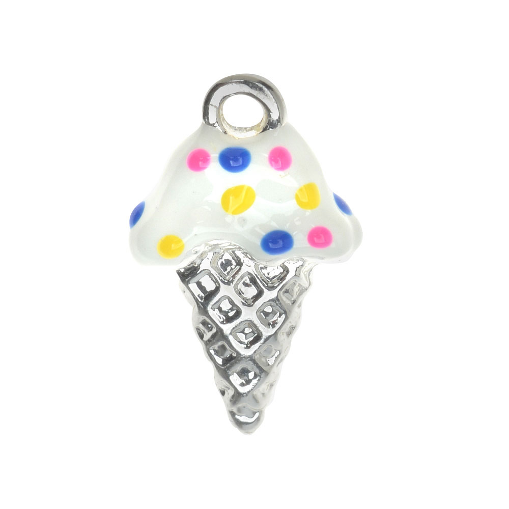 Silver Plated Charm With Enamel - Vanilla Ice Cream Cone With Sprinkles 18mm (1)