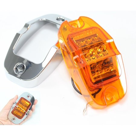 Amber Mid-Turn Clearance Side Marker Flat Base LED Light Truck