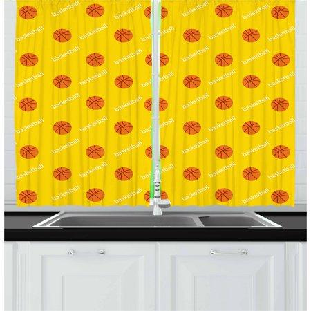 Basketball Curtains 2 Panels Set Athletics League Theme Balls On Yellow Backdrop Goal Fun Game