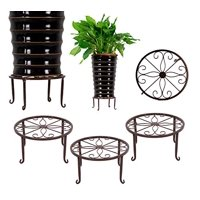 3 Pack Iron Potted Plant Stands Flower Pot Holder 9 inches Heavy Duty 50lb Pre-Assembled Round Rack, Bronze Color