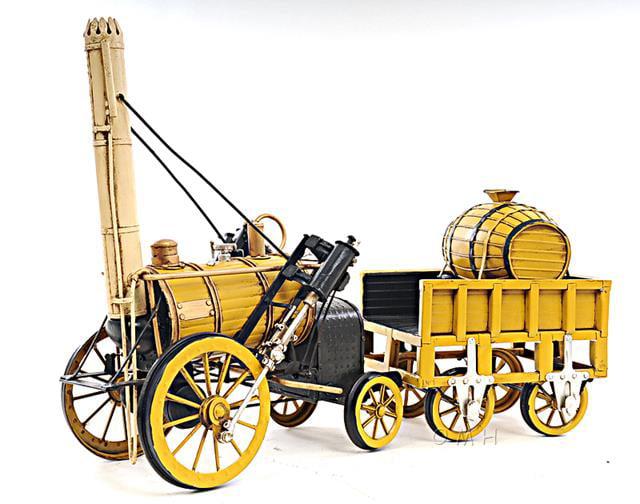 1829 Yellow Stephenson Rocket Steam Locomotive by Old Modern Handicrafts