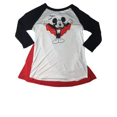 Womens Caped Mickey Mouse Halloween Long Sleeved Tee Shirt Vampire - Vampire Clothing For Women