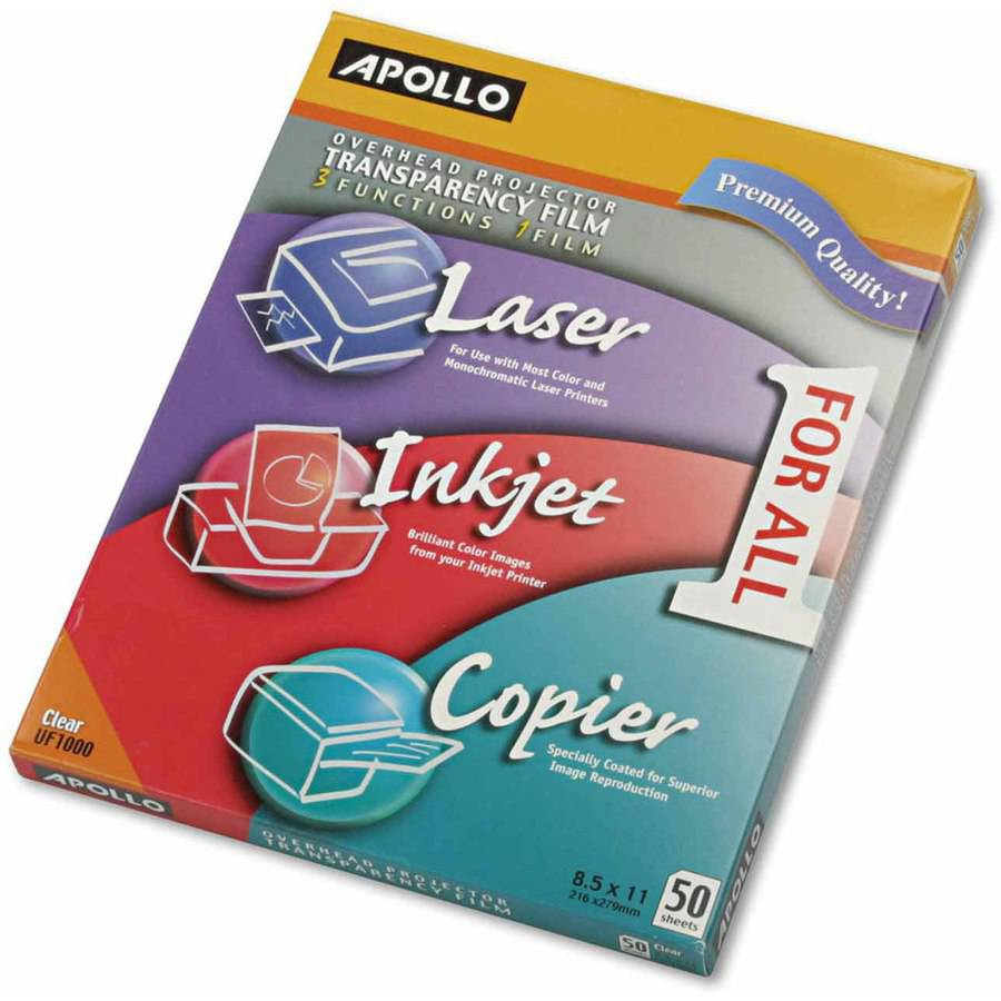 Apollo Multifunction Universal Transparency Film, Letter, Clear, 50/Box