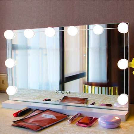Knifun Hollywood Style LED Vanity Mirror Lights Lamp Kit 10Pcs Makeup Hollywood Cold White Dimmable Light Bulb in Dressing Room Ccfl Cold Cathode Light Bulb