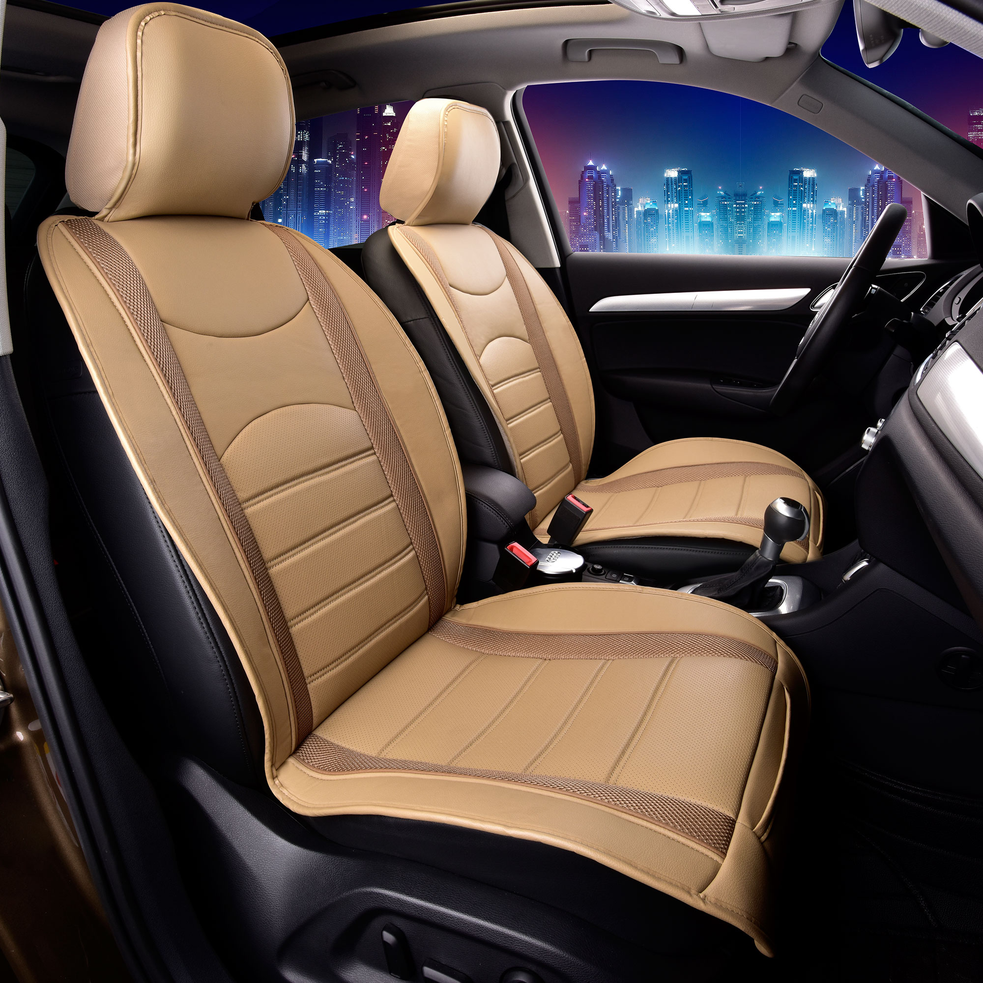 Neoblen Leatheretter Front Seat Cushions for Auto Car SUV Truck Beige