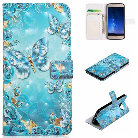 Galaxy S6 Case, Galaxy S6 Kids Case, Allytech 3D Emboss PU Leather Flip Protective Wallet Stand Cover & Credit Card Slots Pocket for Samsung Galaxy S6 (5.1