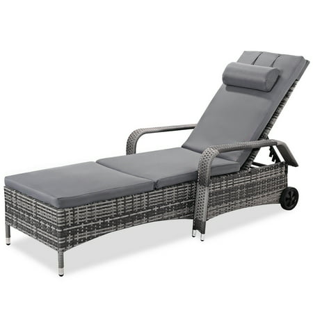 Costway Outdoor Chaise Lounge Chair Recliner Cushioned Patio Furni Adjustable W/Wheels ()