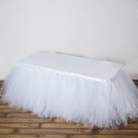 BalsaCircle Tutu Multi Layers Tulle Table Skirt - 3 sizes - Wedding Party Trade Show Booth Events Linens - Tutu Table Skirt For Sale
