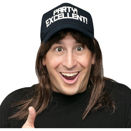 Waynes World Wigs (Excellent! Wayne Wig and Hat Accessory Kit Adult Halloween)