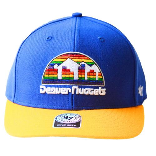 NBA 47 Brand Denver Nuggets 2 Tone Hook & Loop Adjustable Hat + GT Sweat Wristband- Blue Yellow