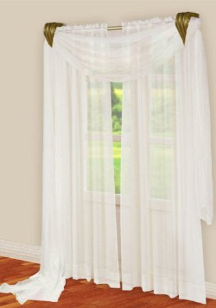3 Piece White Sheer Voile Curtain Panel Set: 2 White Panels and 1 Scarf by AHF