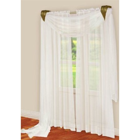 3 Piece White Sheer Voile Curtain Panel Set: 2 White Panels and 1 Scarf
