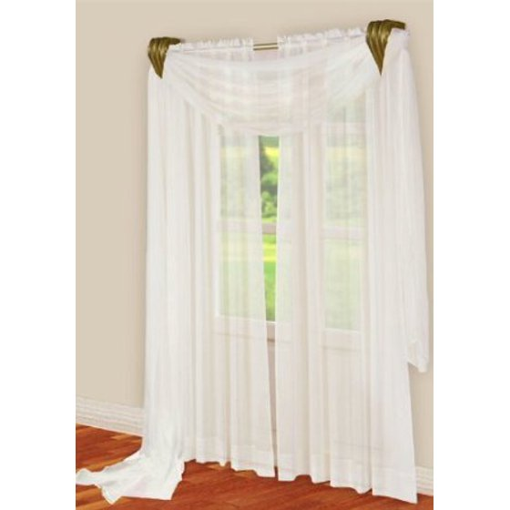 3 Piece White Sheer Voile Curtain Panel Set 2 White Panels And 1 Scarf