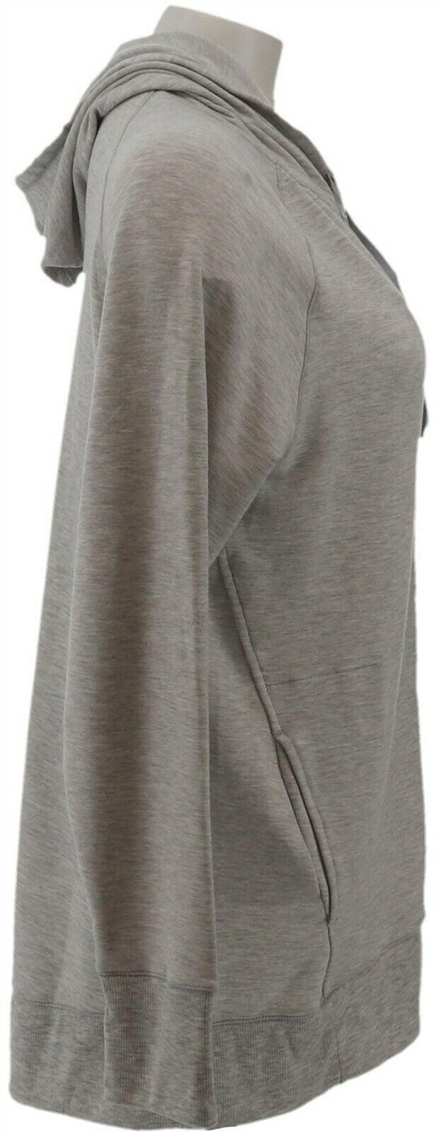 Cuddl Duds Soft Comfort Full Zip Hooded Sweatshirt Lt Grey Hther 1X NEW A301275