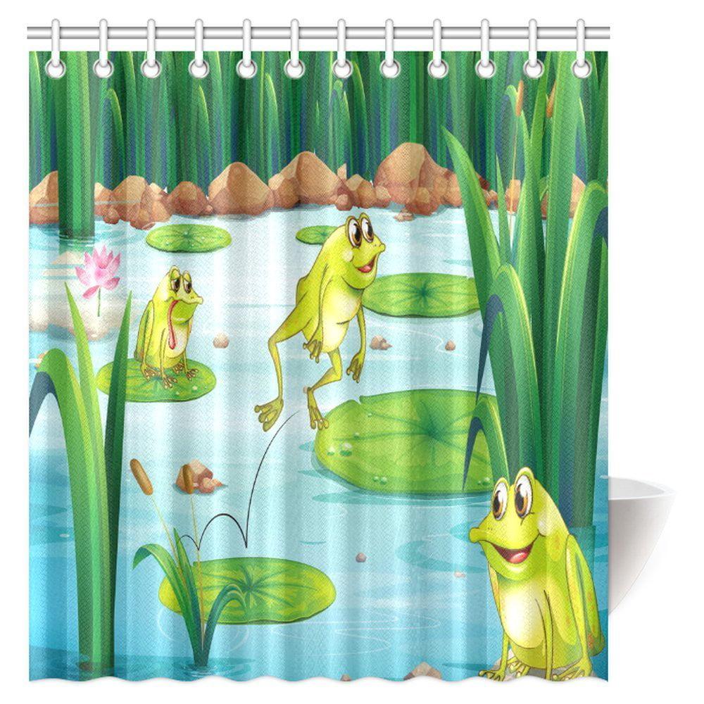 Cute Frog Sat in Sofa Bathroom Waterproof Fabric Shower Curtain With 12 Hooks