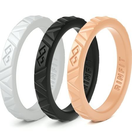 Rinfit Stackable Silicone Rings Thin Rubber Wedding Bands For Women 3 Set 2 5 Mm Wide