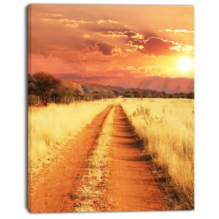 Design Art Straight Path In African Landscape Photographic Print On Wrapped Canvas
