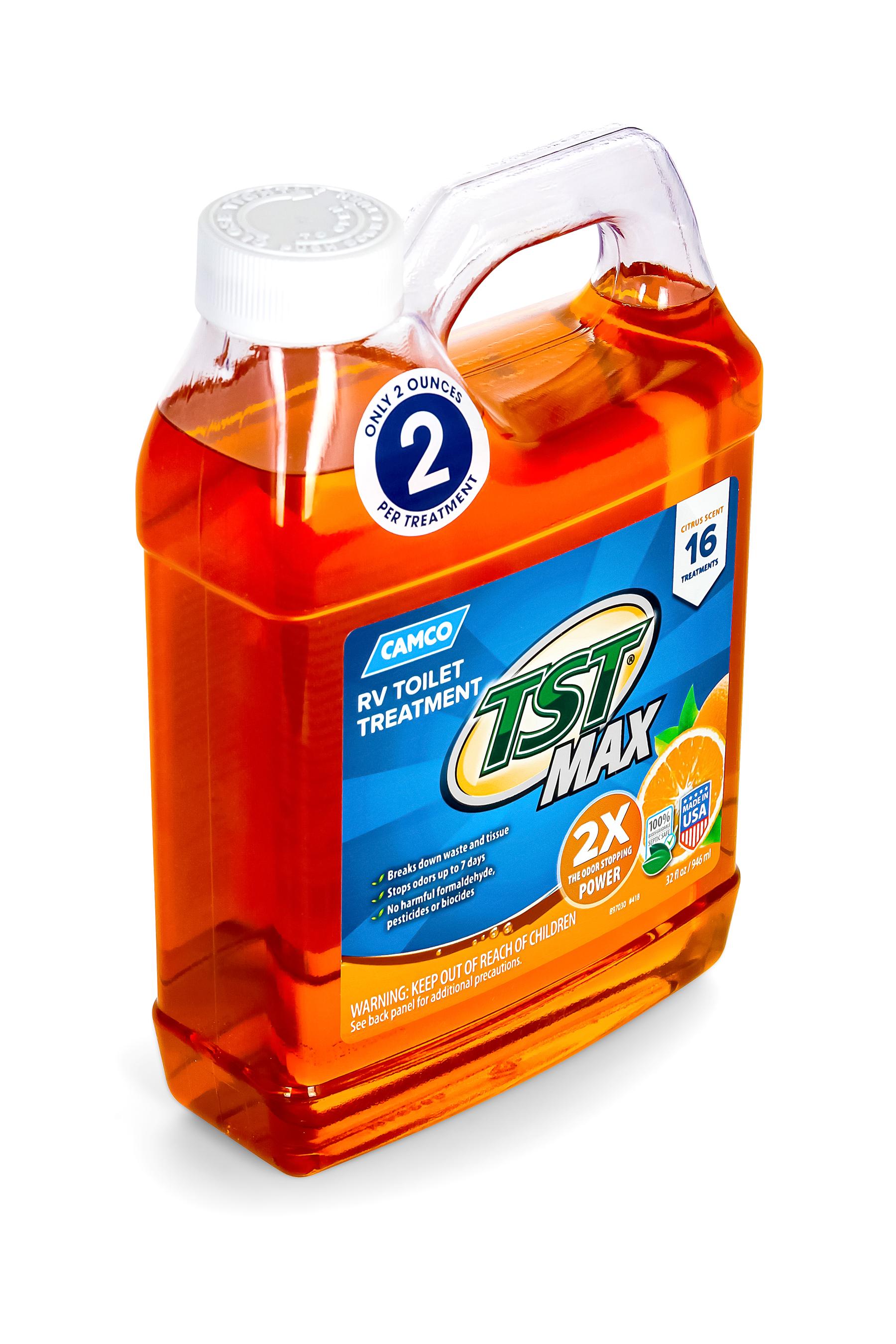 Camco Tst Max Strength Orange Scent Rv Toilet Treatment Formaldehyde Free Breaks Down Waste And Tissue Septic Tank Safe Treats 40 Gallon Holding Tanks 32 Oz 41192 Walmart Com Walmart Com