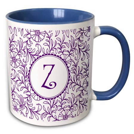 3dRose Letter Z in Circle over Swirly Floral Pattern in Purple and White - Two Tone Blue Mug, 15-ounce - Blue And Purple Patterns