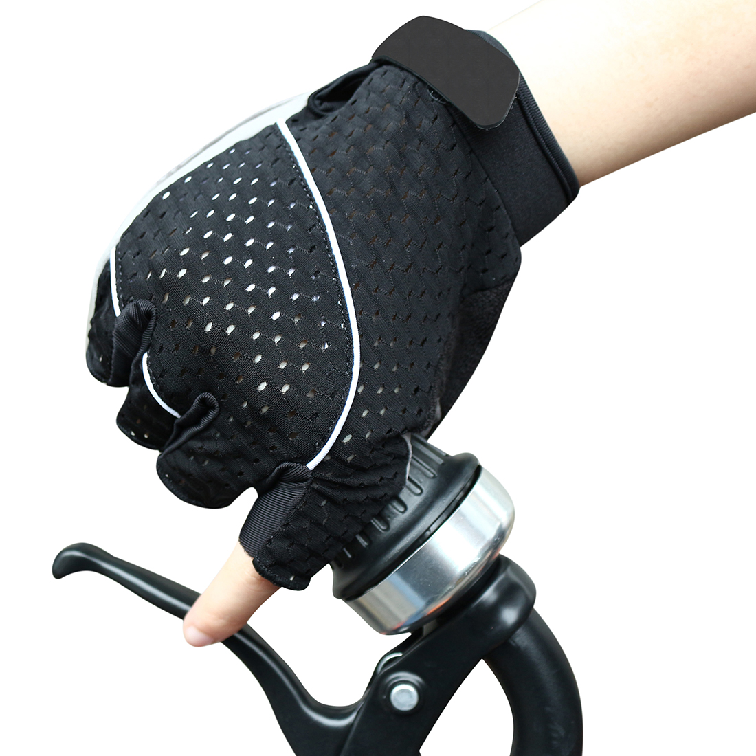 Unique Bargains Unisex Outdoor Bike Riding Cycling Gloves Half Finger Summer Anti-slip