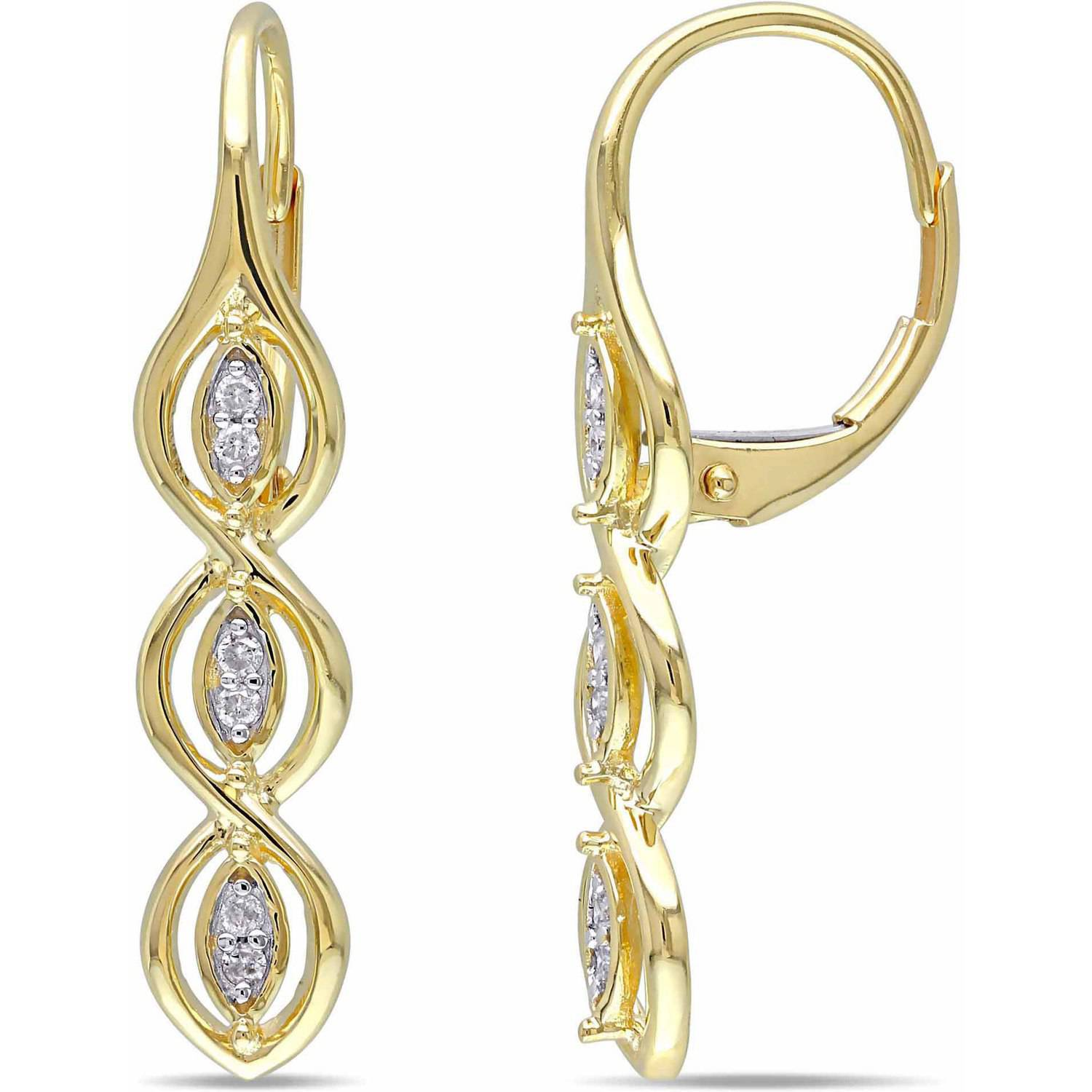 miabella accent 10kt yellow gold leverback dangle