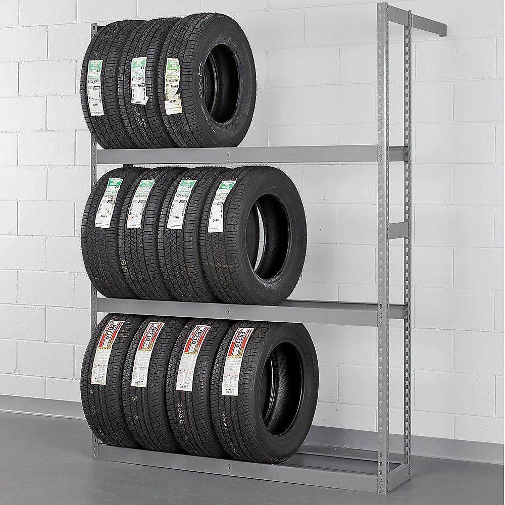 "Tennsco Garage Wall Mount Storage Tire Rack 60"" W x 84"" H Car Truck Tire Shelf"
