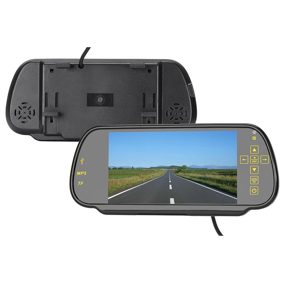Buy ZYD709B 7 Inch Rear View Mirror Monitor Radar Detector Car DVR Backup Camera