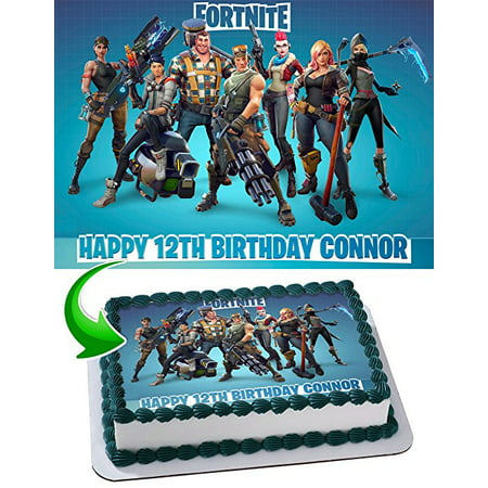 Fortnite Personalized Edible Image Cake Topper, 1/4 Sheet (Mustang Cake)
