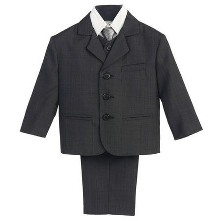 Little Boys Dark Grey Wedding 5 Pcs Special Occasion Suit 3 (Boys Suits Grey)
