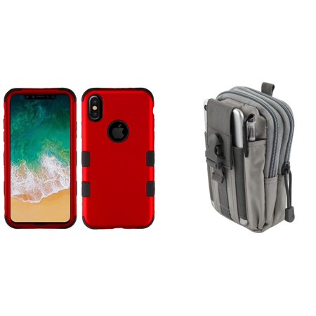 TUFF Hybrid (Military Grade Certified) Phone Protector Cover Case (Red) with Gray Tactical EDC MOLLE Belt Bag Pouch and Atom Cloth for Apple iPhone XS (2018)/iPhone X (2017) -  Bemz Depot