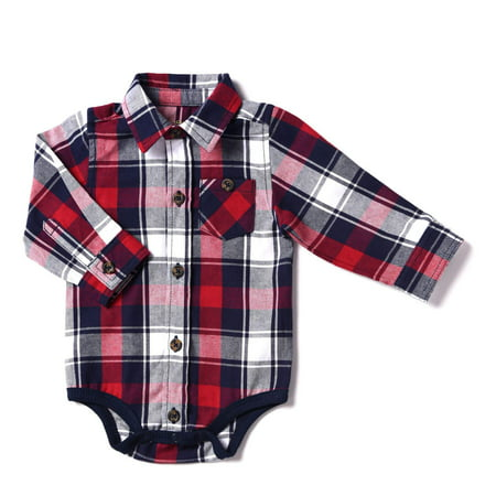 Kapital K Newborn Baby Boy Flannel Plaid Bodysuit](Plaid Onesie)